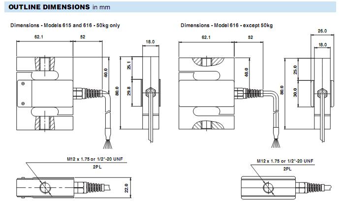 用于拉伸或压缩;   6线(感应)电路;   616-50kg称重传感器输出标准